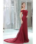 Burgundy Off Shoulder Lace Prom Dress