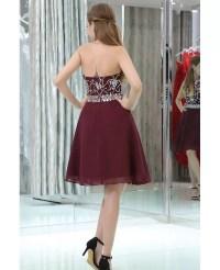 Halter Short Chiffon Beaded Prom Dress In Burgundy #B021 ...