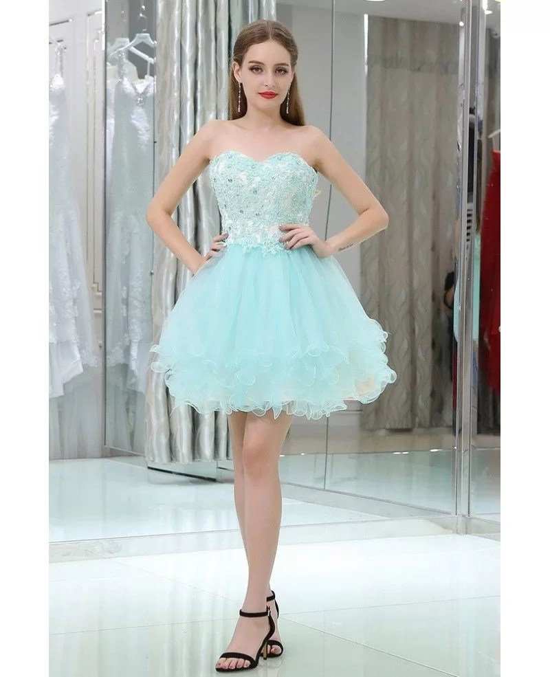 Strapless Short Tulle Baby Blue Prom Gown With Crystal Lace B030  GemGracecom