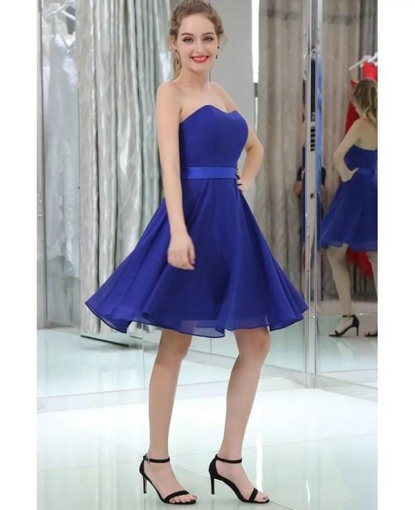 Royal Blue Simple Cocktail Chiffon Prom Dress Strapless #b051