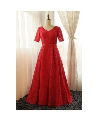 Plus Size Full Red Lace V-neck Long Formal Dress With ...