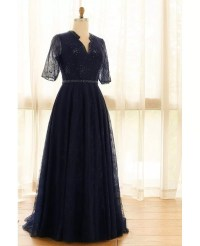 Elegant Navy Blue Plus Size Long Tulle Lace Formal ...