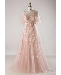 Plus Size Blush Pink Flowing Long Tulle Flowers Long ...