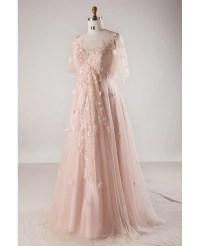Plus Size Blush Pink Flowing Long Tulle Flowers Long