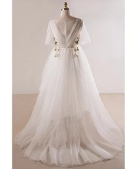 Plus Size Flowing Long Tulle Flowers Beach Wedding Dress