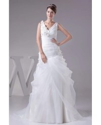 V-neck Organza Body Fitted Wedding Dress with Flowers # ...