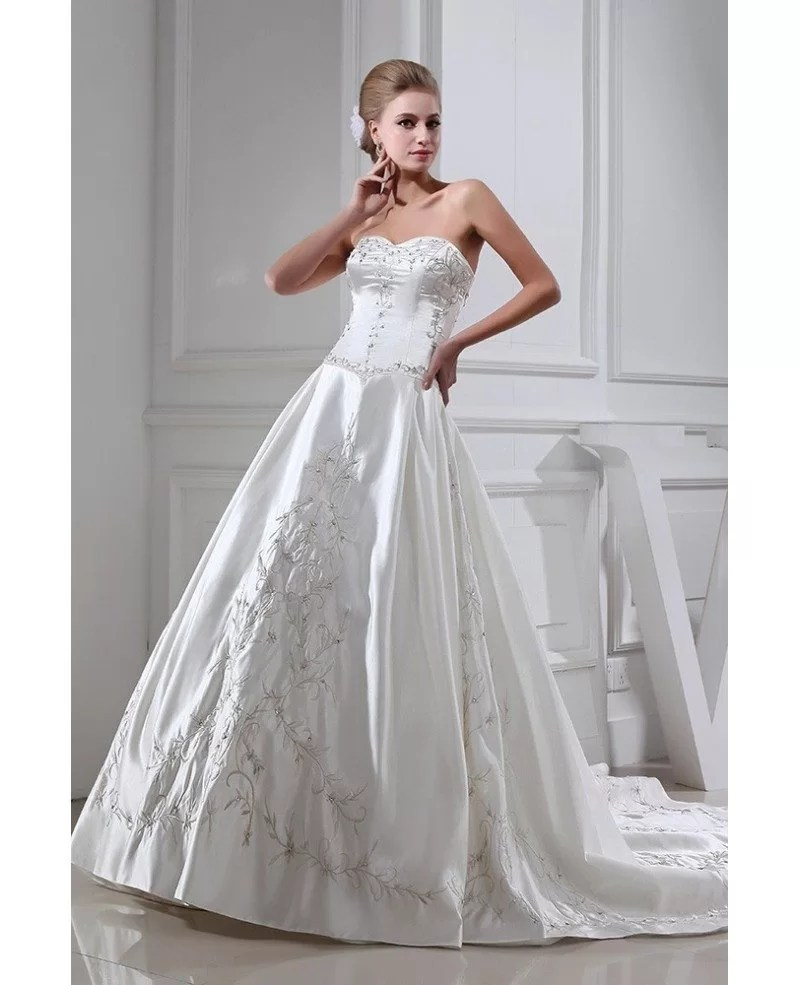Embroidered Sweetheart Ivory Satin Wedding Gown OPH1349