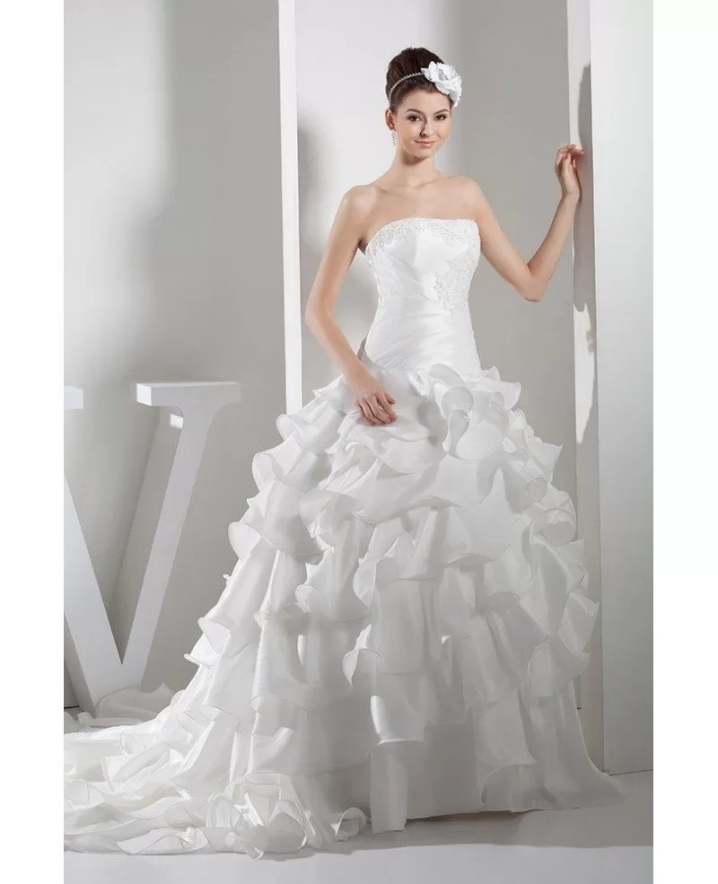 Strapless Lace Cascading Ruffles Wedding Gown Custom OPH1355 269  GemGracecom