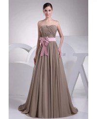 Brown and Pink Sash Long Chiffon Wedding Dress Custom # ...