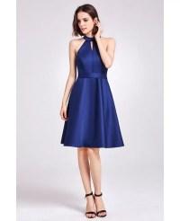 Short Knee Length Halter Cheap Bridesmaid Dress with Sash ...