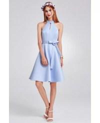 Light Blue Short Knee Length Halter Cheap Bridesmaid Dress ...
