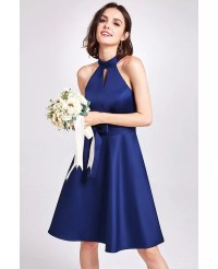 Light Blue Short Knee Length Halter Cheap Bridesmaid Dress ...