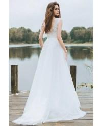 Simple Lace A Line Boho Beach Wedding Dress Long Tulle ...