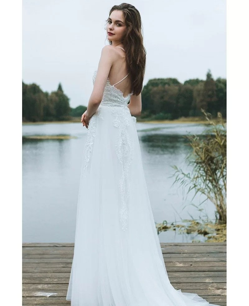 Boho A Line Simple Beach Wedding Dress Spaghetti Straps For Summer Weddings DF6404  GemGracecom