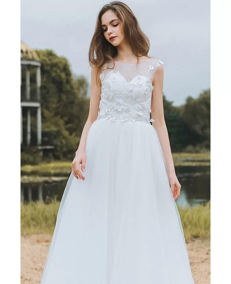 Modest Lace A Line Beach Wedding Dress Cheap Boho Cap