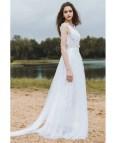 Flowy Line Lace Beach Wedding Dress Boho 2018