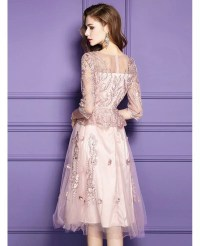 Pink Lace Knee Length Formal Dress For Wedding Guests With