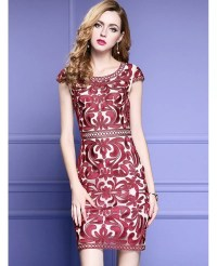 High-end Embroidery Cocktail Dress With Cap Sleeves ...