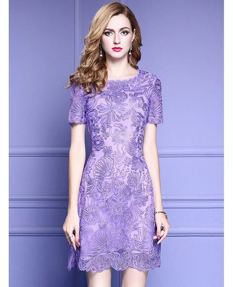 Elegant Purple Lace A Line Wedding Guest Dress With High