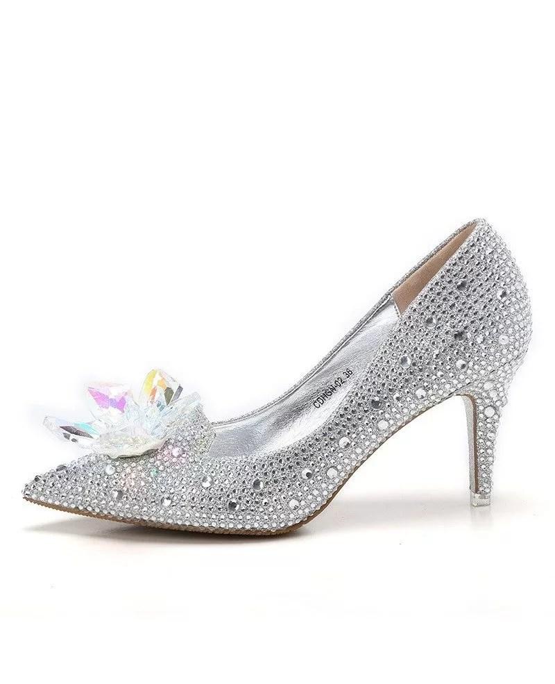 Elegant Bling Floral Wedding Shoes Silver For Brides ALA