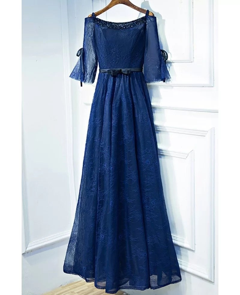 Beautiful Navy Blue Lace Long Formal Prom Dress With