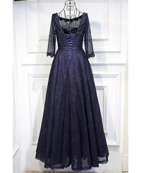 Vintage 3/4 Sleeve Navy Blue Long Prom Dress Lace With ...