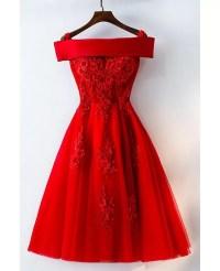 Short Off Shoulder Red Lace Bridal Party Dress #MYX18171 ...