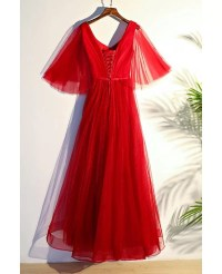 Flowy Red Butterfly Sleeves Long Formal Party Dress #