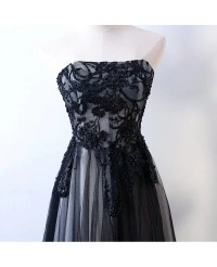 Strapless Sheath Long Black Prom Formal Dress With Corset ...