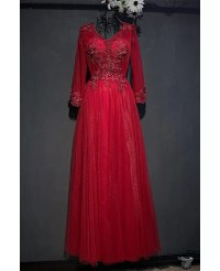 Formal Burgundy Long Formal Party Dress With Long Sleeves ...