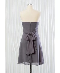 Strapless Short Grey Bridesmaid Dress In Chiffon for ...