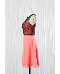 Short Coral Bridesmaid Dress With Black Lace for Summer ...