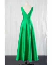 Simple Long Green Bridesmaid Dress In Satin for Spring ...