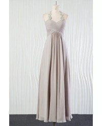 Vintage Silver Beach Bridesmaid Dress Long Halter With ...