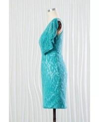Elegant Aqua Lace Short Bridesmaid Dress In One Shoulder # ...