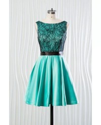 Short Teal Satin Bridesmaid Dress With Black Lace Bodice # ...