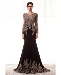 Special Long Sleeved Formal Evening Dress With Gold