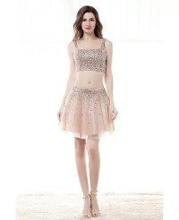 Sparkly 2 Piece Crop Top Prom Dress Cocktail With Sequins ...