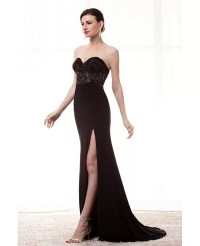 Strapless Slit Black Formal Prom Dress With Beading Bodice ...