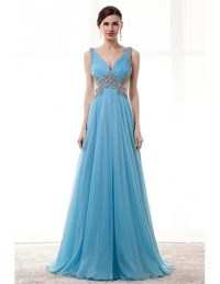 Flowy Long Sky Blue Prom Dress Beaded With Straps Sheer ...