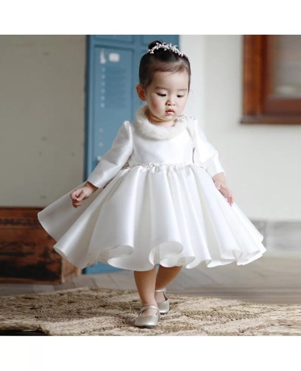 High-end Ivory Satin Flower Girl Dress Modern With Sleeves Toddler Girls Pageant Gown #tg7024