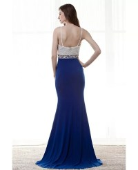 Different Straps Slit Blue Prom Dress With White Beading ...
