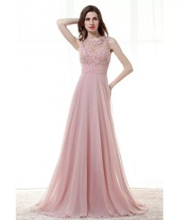 Light Pink A Line Long Prom Dress With Lace Beading Top # ...