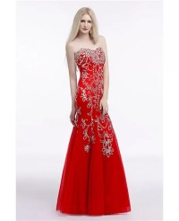 Beautiful Petite Fitted Red Prom Dress Long With Shiny ...