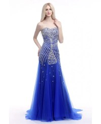 Elegant Fit And Flare Formal Dress Royal Blue With Shiny ...