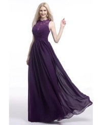 Flowy Chiffon Purple Prom Dress Long With Lace Sheer Top ...