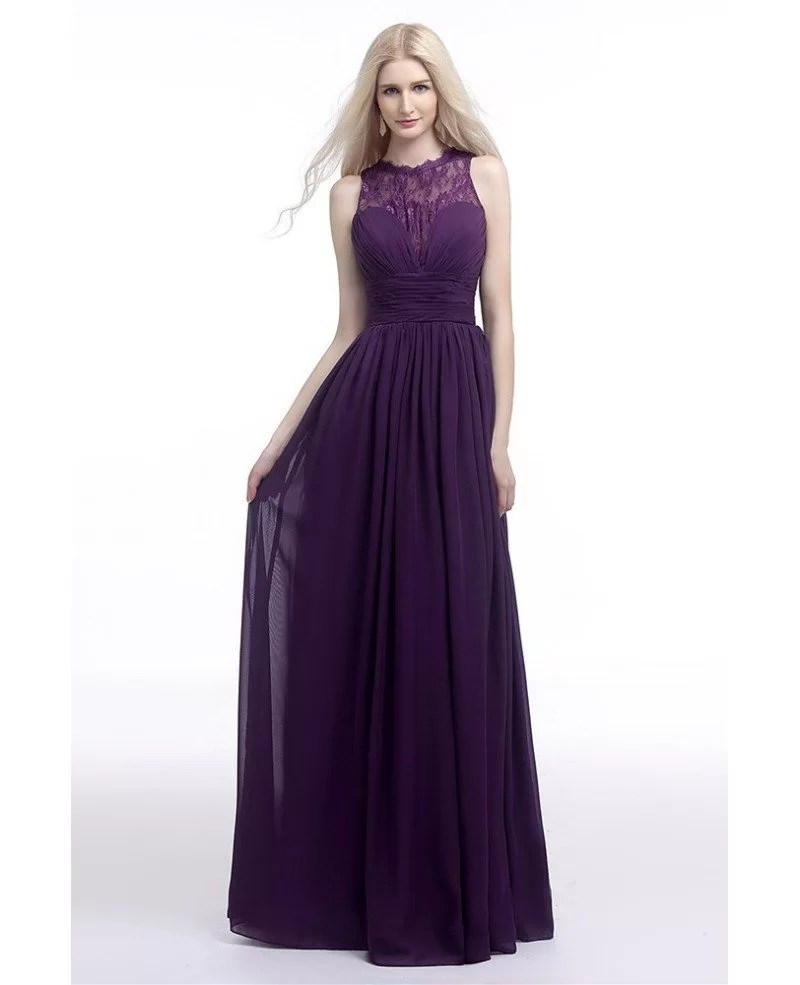 Flowy Chiffon Purple Prom Dress Long With Lace Sheer Top 2018 H76077  GemGracecom