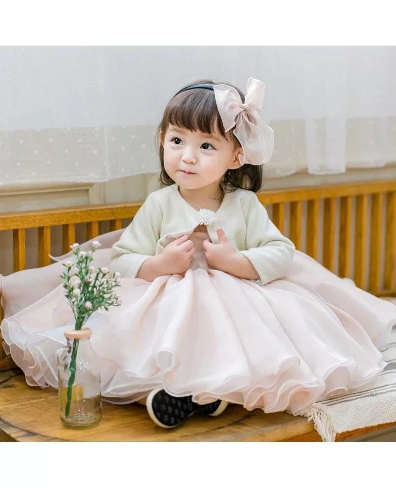 Blush Pink Cute Puffy Flower Girl Dress Baby Toddler