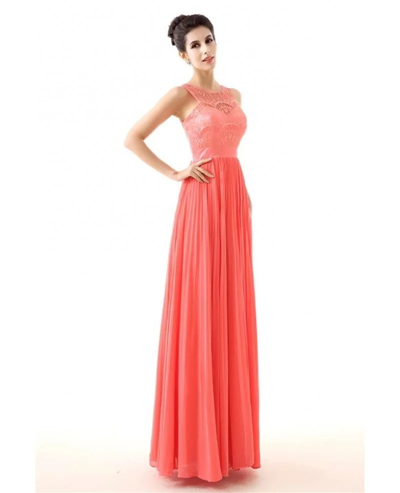 Flowy Chiffon A Line Watermelon Prom Dress With Lace Top H76090  GemGracecom
