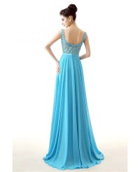 2018 Aqua Chiffon Prom Dress A Line Long With Lace Bodice ...